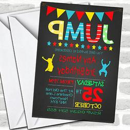 Chalk Boys Jump Trampoline Children's Birthday Party Invitat