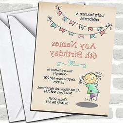 Cute Trampoline Children's Birthday Party Invitations