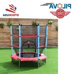 EXCLUSIVE Mini Trampoline With Enclosure Net Safety Pad for