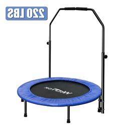 Wolfyok Exercise Trampoline with Safety Pad Adjustable Handl