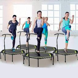 Fitness Trampoline With Adjustable Handrail For Indoor Gym J