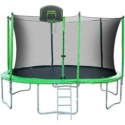 Merax 12 14 Ft Round Trampoline with Safety Enclosure, Baske