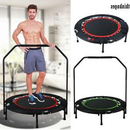 Folding Mini Rebounder Trampoline with Adjustable Handrail F