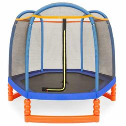 Heavy Duty 7 ft Kids Outdoor Round Mini Trampoline w/Enclosu