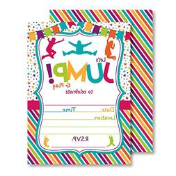 Jump Bounce and Play Jumping Birthday Party Invitations for