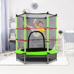 "Kids Mini Jumping Round 55"" W/ Safety Pad Enclosure Combo Tr"
