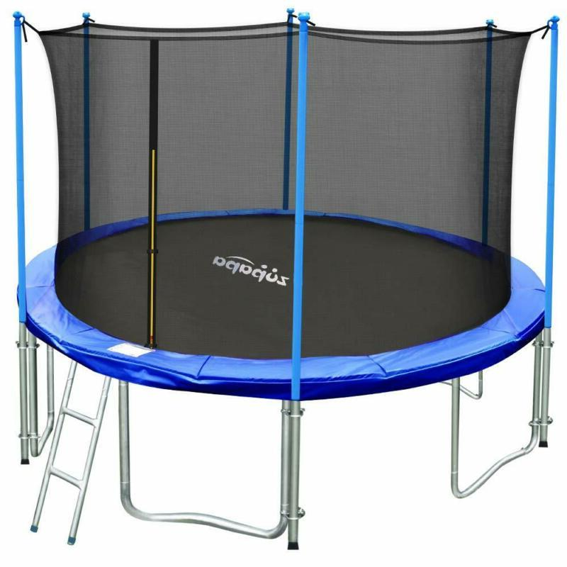 Zupapa 10 Ft Tuv Approved Trampoline With Ladder, Outdoor Tr