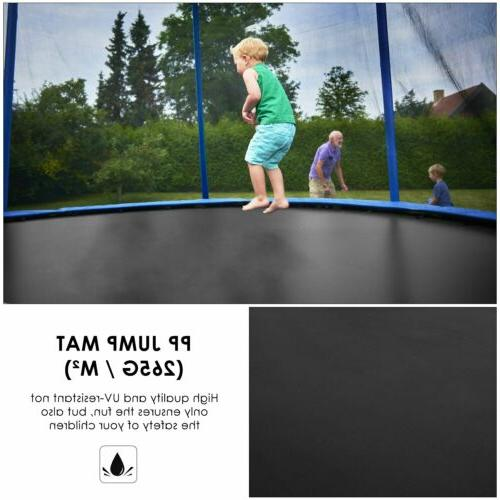 10FT with Safety Kids Trampoline Blue