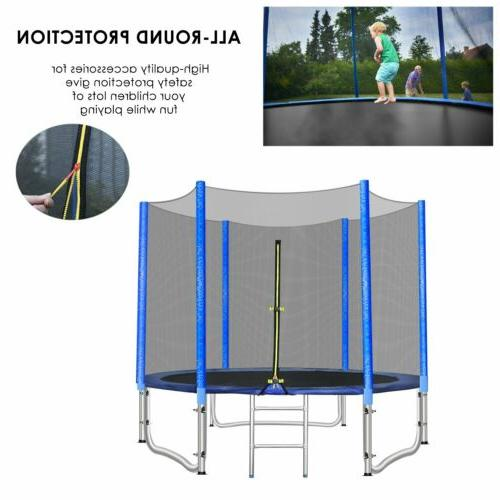 Outdoor 10ft Round Trampoline with Safety Enclosure Net Jump