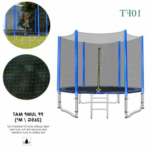 10ft Round Trampoline with Safety Enclosure Net Outdoor Jump