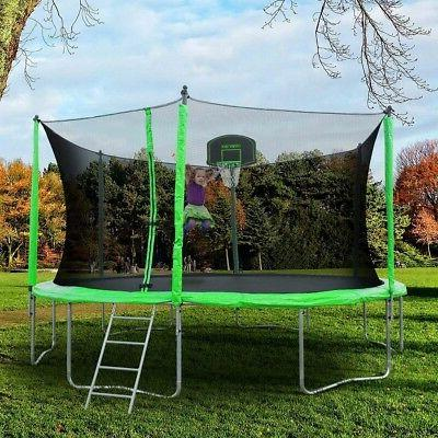 Merax 12-Feet Round with Safety Enclosure, Hoop and