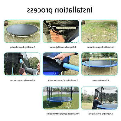 12 Trampoline Mat Kids Adults with Enclosure Net Indoor Yard