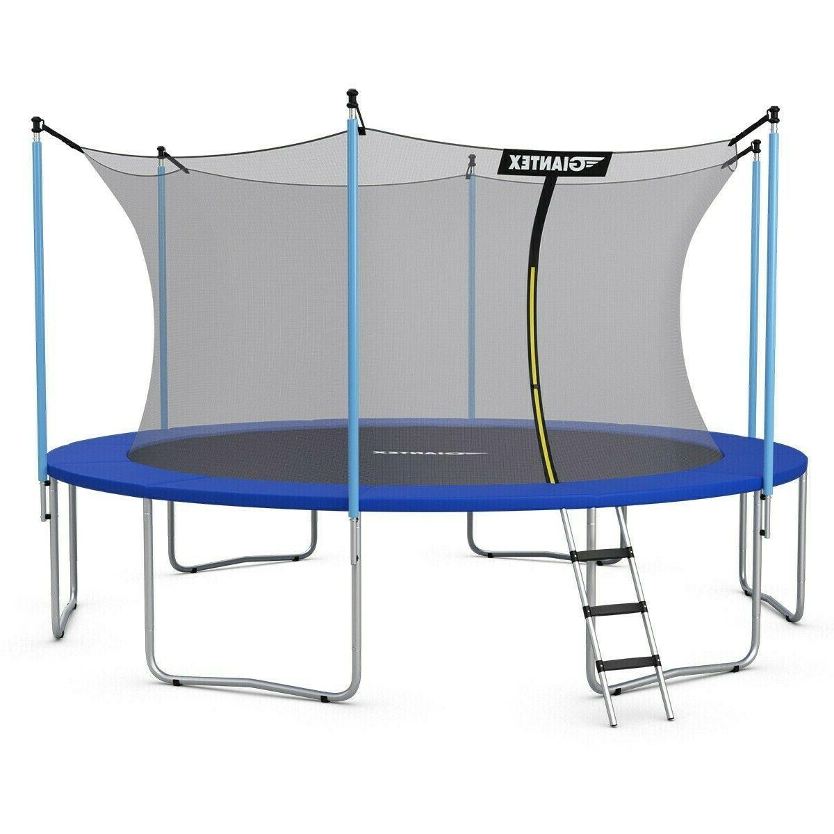 12 FT Round Trampoline With Enclosure Net Spring Pad Ladder