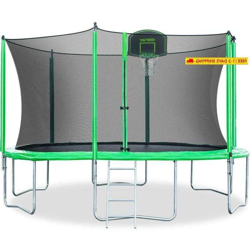 12ft kids trampoline with safety enclosure net