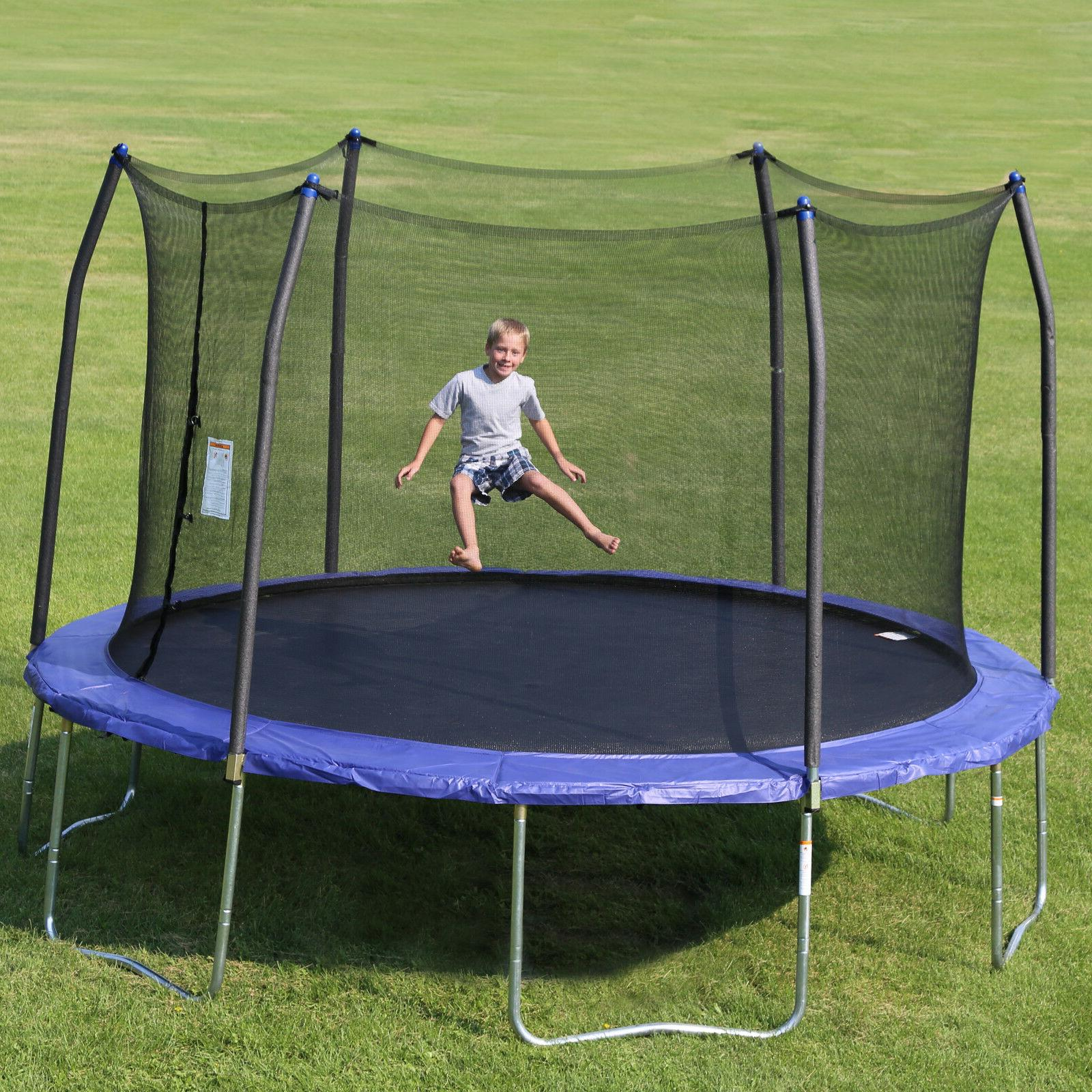 14 Foot Round Trampoline Safety Net Wind Stakes Weather Resi