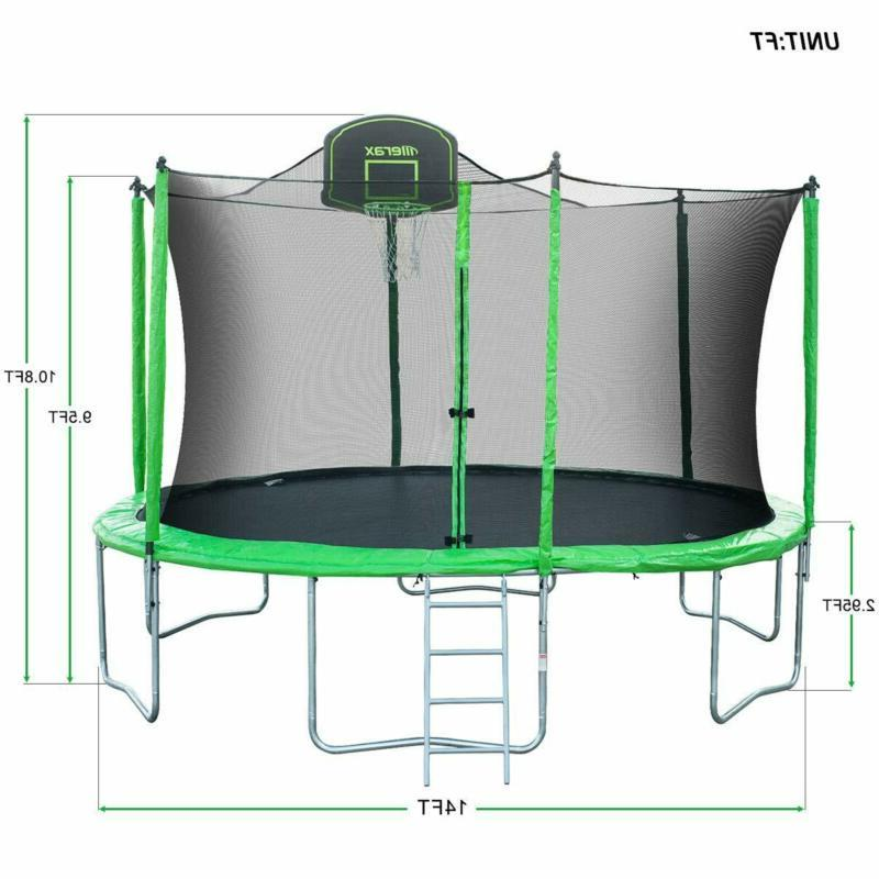 Merax Ft Round Trampoline With Safety Enclosure, Basketball