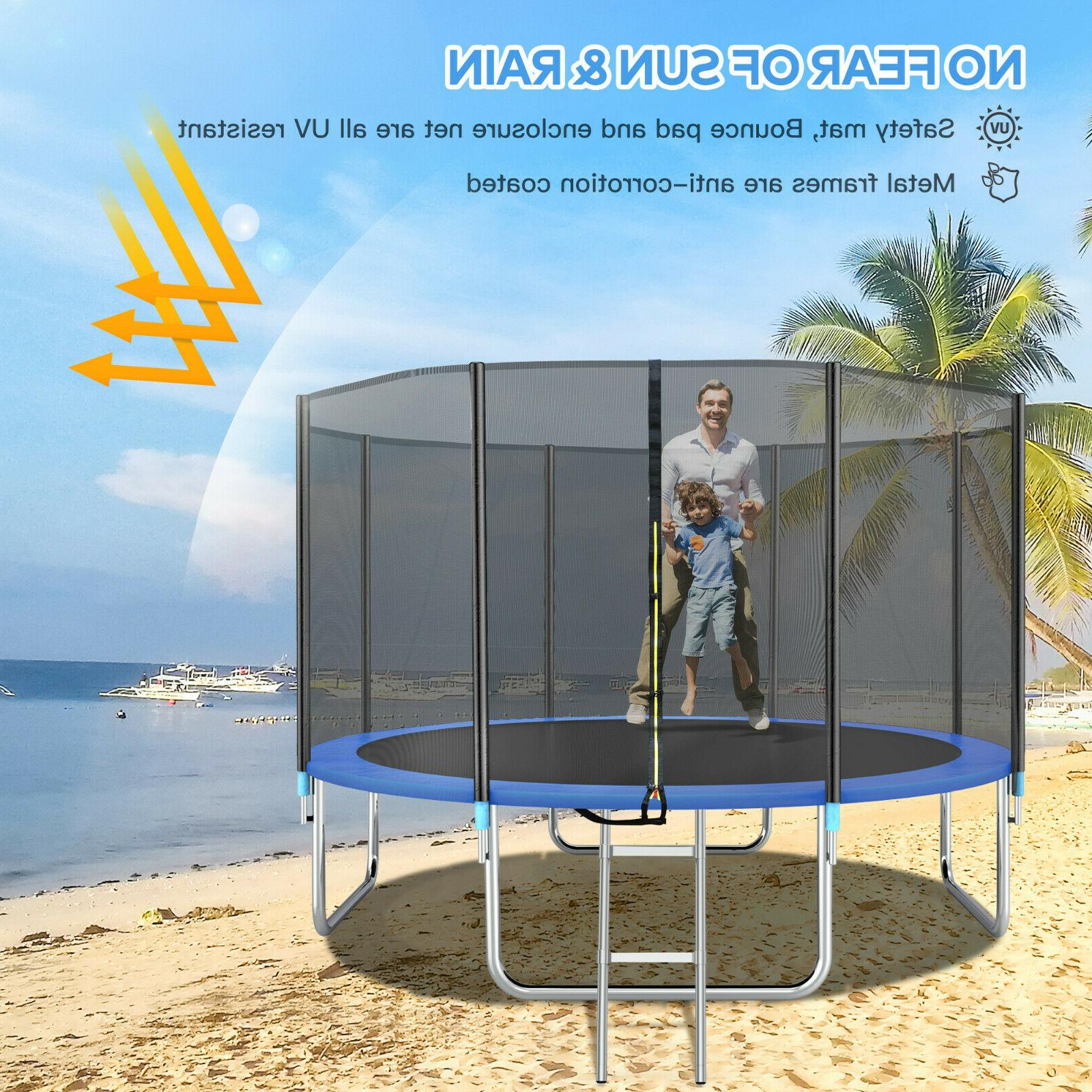 14FT Trampoline with Safety Enclosure Net, and 330LBS Load