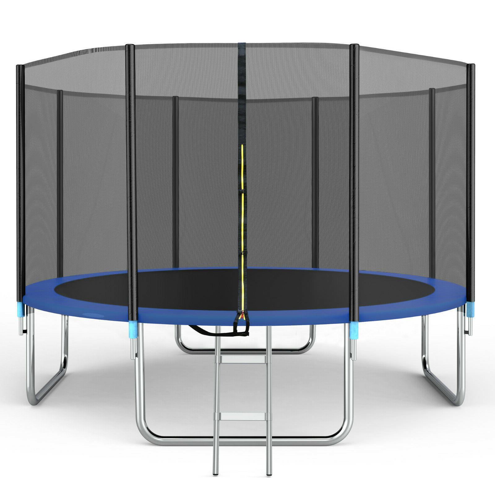 14ft trampoline with safety enclosure net spring
