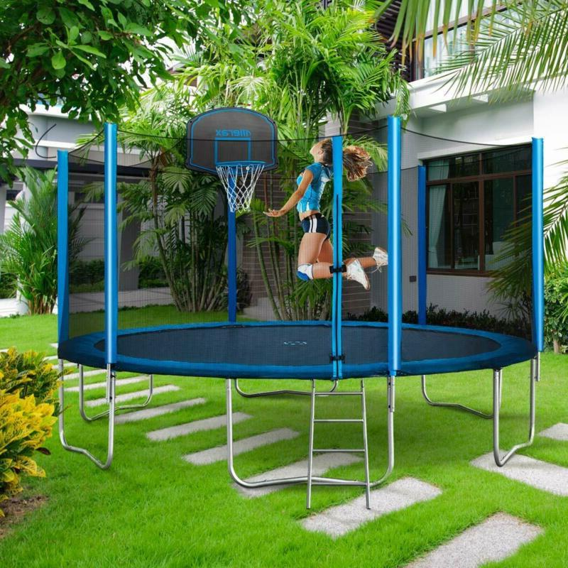 Merax Trampoline With Safety Basketball Hoop And -