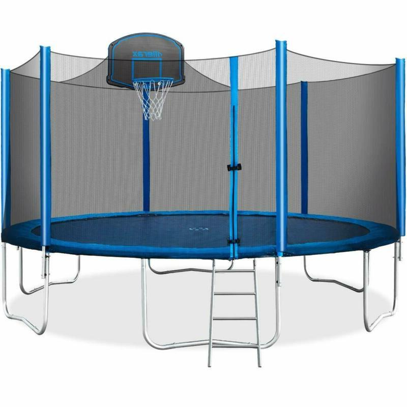 Merax 15 Ft Trampoline With Safety Enclosure Net, Basketball