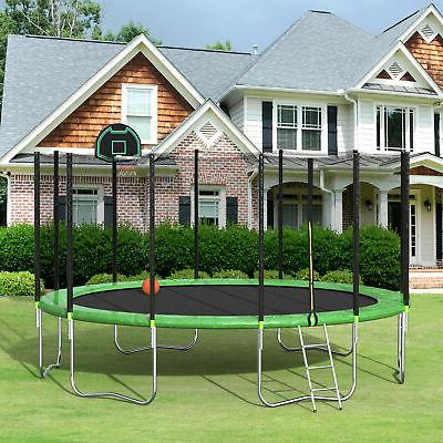 Merax 16' Trampoline with Basketball Hoop and Enclosure, Gre