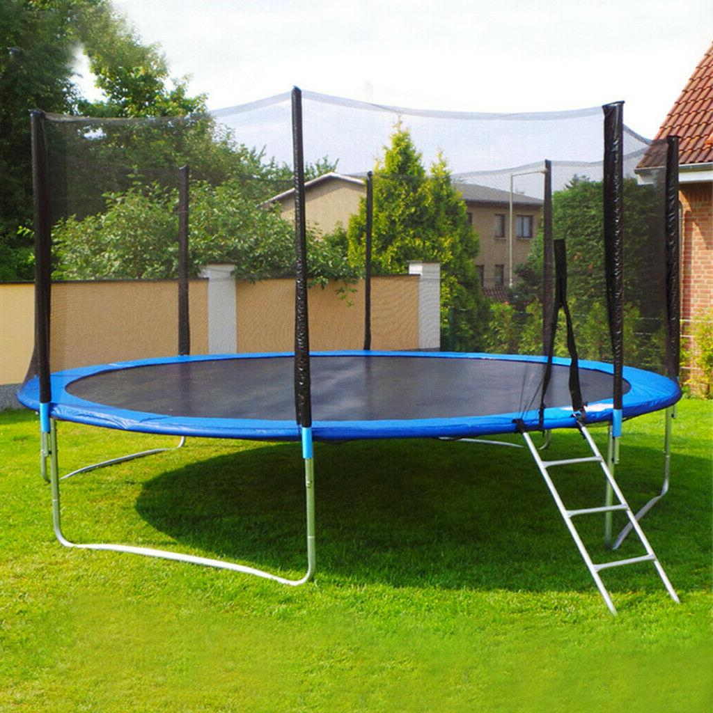 12 FT Kids Trampoline With Enclosure Net Jumping Mat And Spr