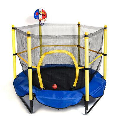 Kids Mini Trampoline with Safety Enclosure Net and Spring Pa