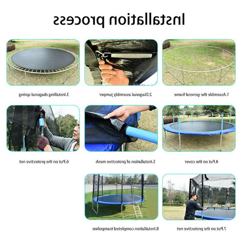 Trampolines 8/10/12-Foot Jump Dunk Trampoline with Enclosure Net