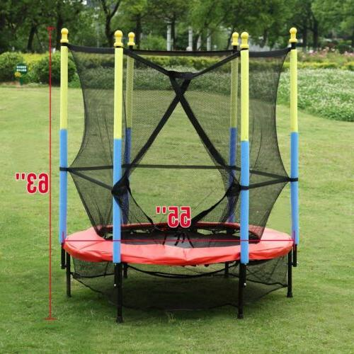 "55"" Kids Mini Trampoline Combo w/Enclosure Pad Safety"