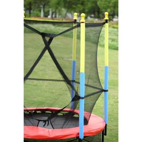 "55"" Kids Mini Trampoline w/Enclosure Pad Jump Safety"