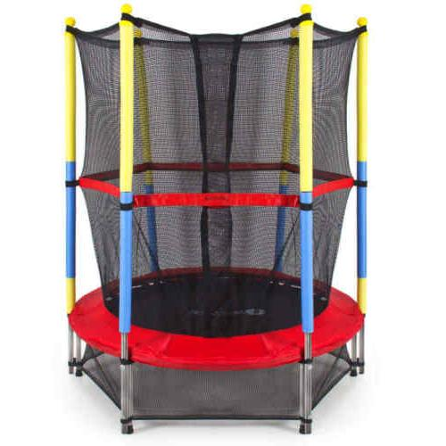 "55"" Kids Mini Round Trampoline w/Enclosure Pad"