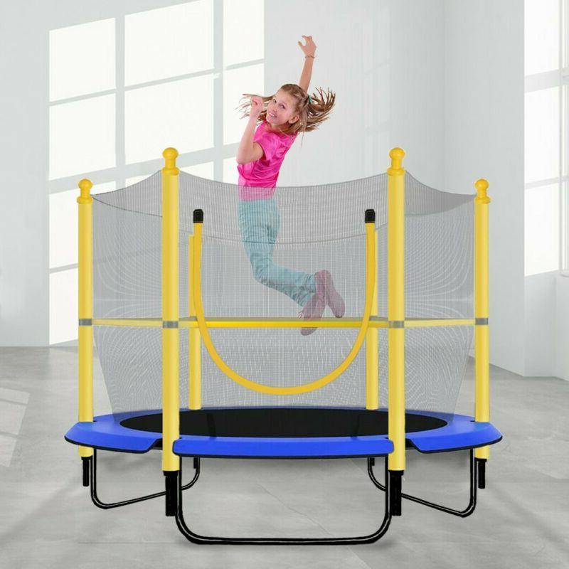 Kids 5FT Trampoline Play Exercise Jumping Bed Round W/Safety