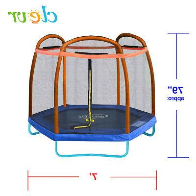 Clevr 7 Bounce Jump Safety Net W/ Spring Pad Orange