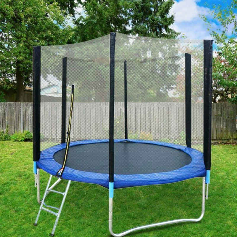 8 FT Kids Trampoline With Enclosure Net Jumping Mat And Spri