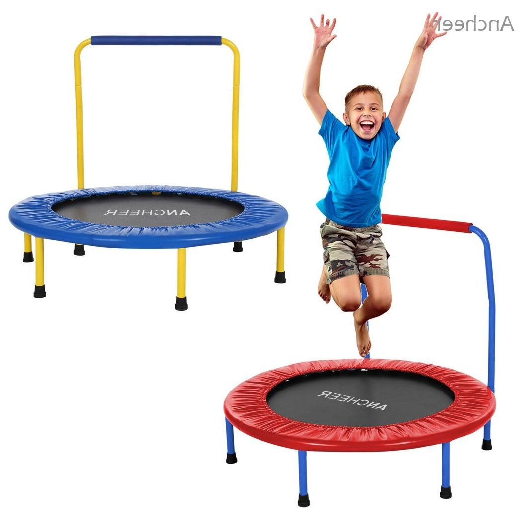 ANCHEEER <font><b>Trampoline</b></font> Children Kids Durable Construction with Padded Frame Handle
