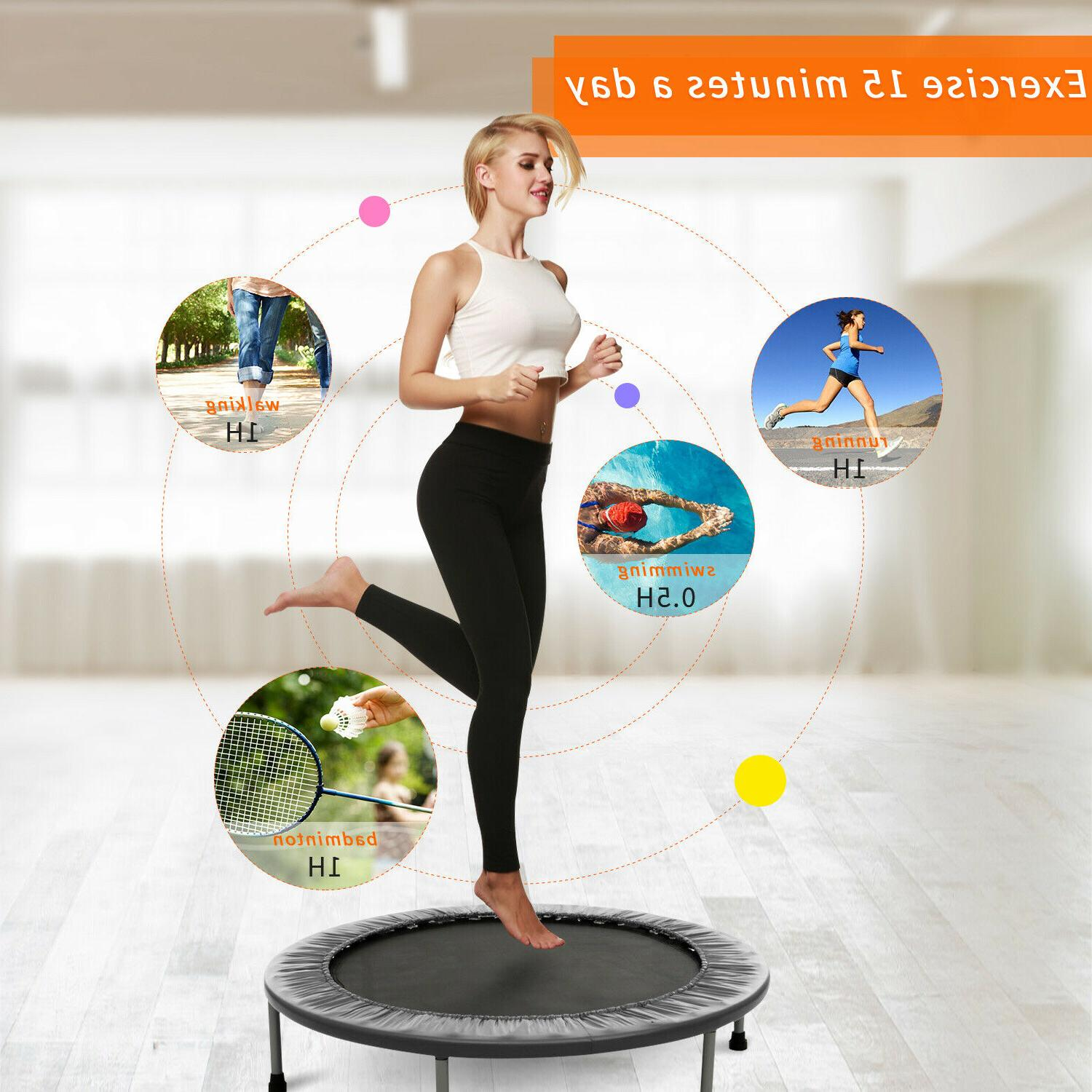 fitness trampoline for adults kids load 220lbs