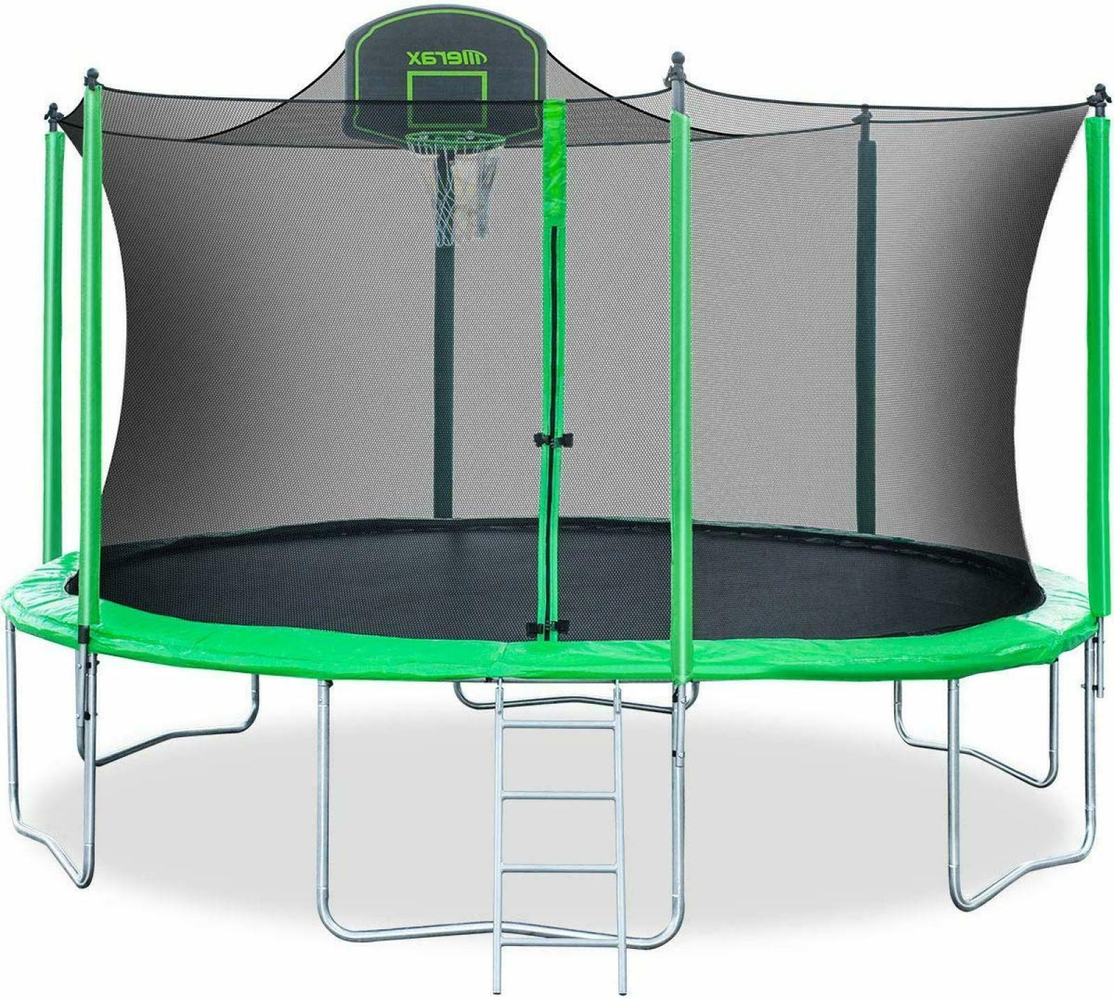 Merax 14FT 12FT Trampoline with Safety Enclosure Net, Basket
