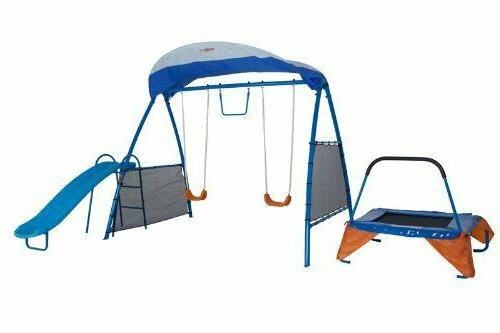 Metal Swing Set Trampoline Swings Fitness Equipment Fun Play