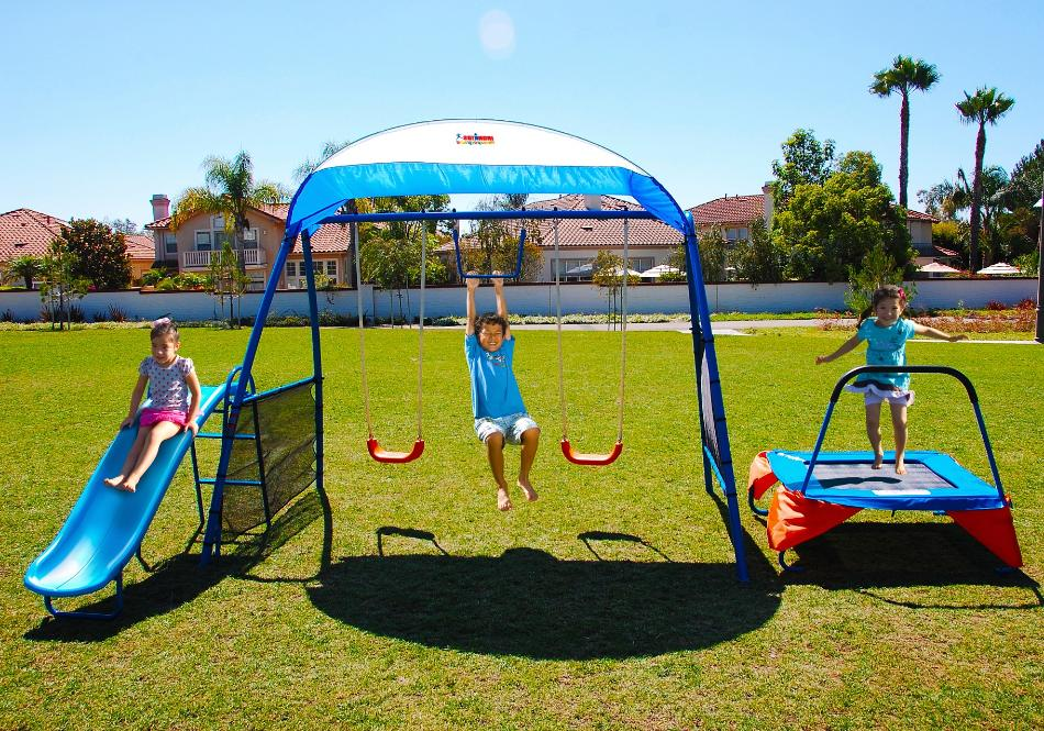 metal swing set trampoline swings slide kids