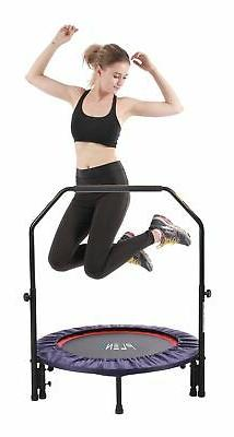 "38"" mini fitness trampoline with handle bar, 2-in-1 lean reb"