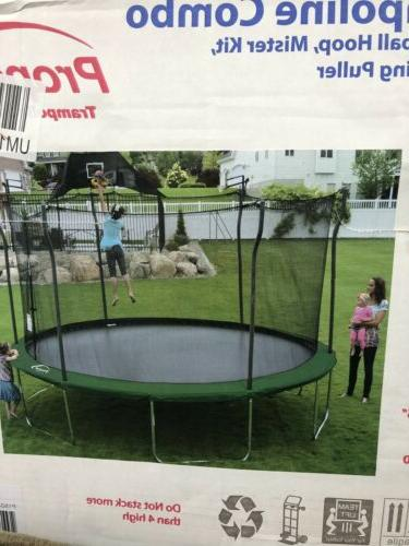 propel trampoline 15ft with basketball hoop new