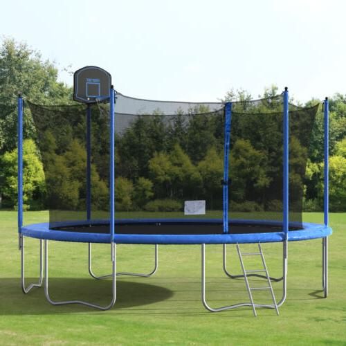14ft round trampoline w enclosure and 80pc