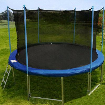 12 FT Round with Enclosure, Spring Pad Ladder