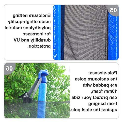Zupapa 15FT 14FT TUV Approved with Enclosure net, Ladder Pole Safety Pad Mat Spring Pull Include All Accessories, Outdoor Backyard