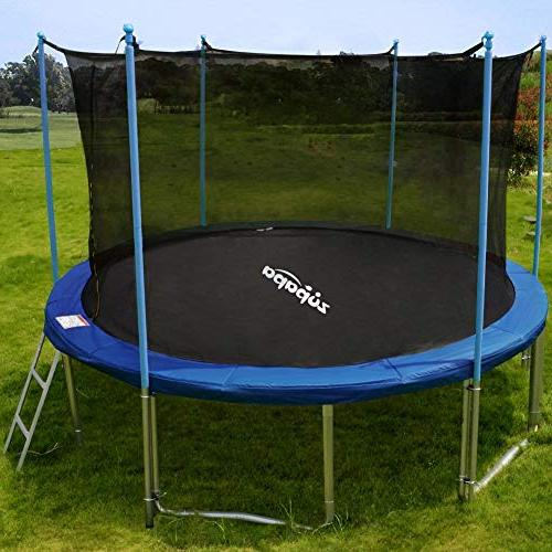 Zupapa 14FT TUV Approved with Enclosure Pole Safety Mat Spring Pull Outdoor Backyard Trampoline