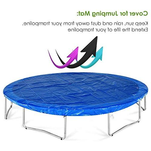Zupapa 14 FT Approved Trampoline with Enclosure net Poles Jumping Mat Blue