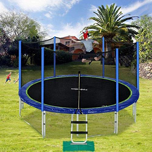 Zupapa 15 FT Approved with net and Poles Pad Jumping Blue