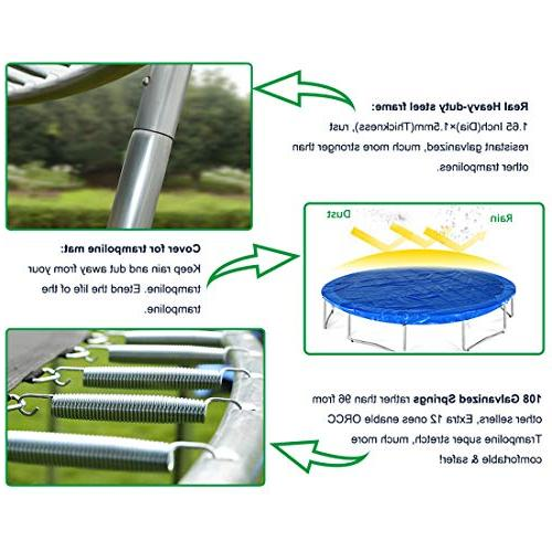 ORCC 15FT Trampoline, TUV Certificated, with Enclosure and All Accessories, Gift