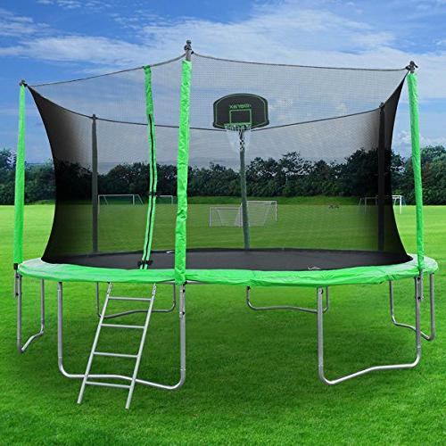 Merax Trampoline with Safety Net, Basketball Hoop and - Basketball Trampoline