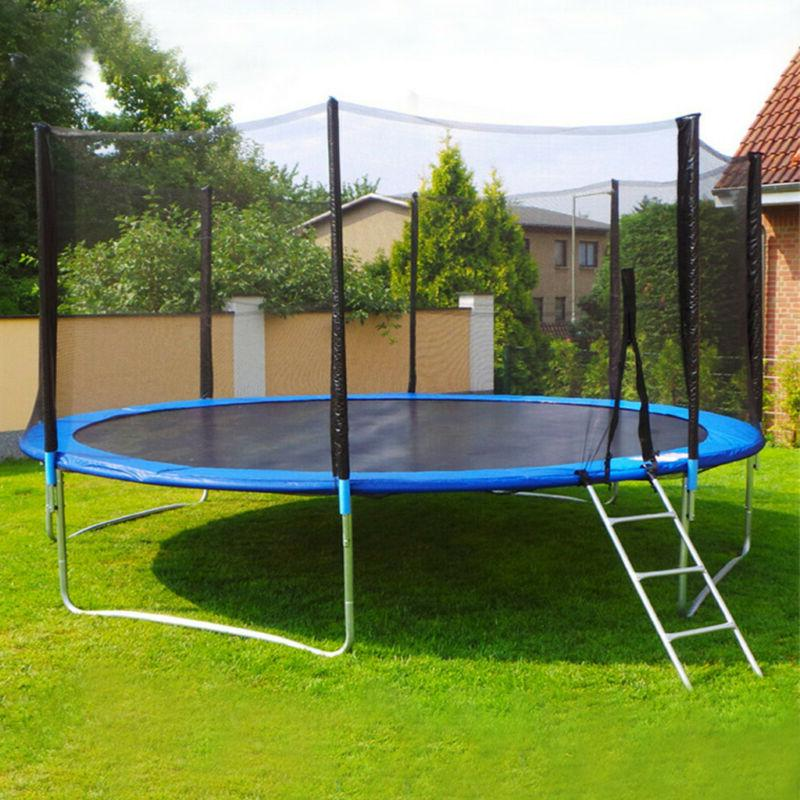 10FT Kids Trampoline With Enclosure Net Jumping Mat And Spri